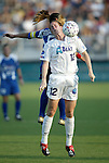 4 July 2003: Cindy Parlow (12) and Tiffany Roberts (rear). The Carolina Courage defeated the Atlanta Beat 3-2 at SAS Stadium in Cary, NC in a regular season WUSA game.