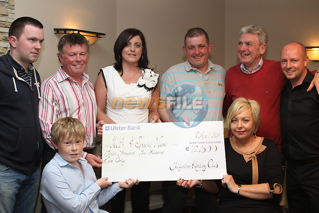 Laura Doherty from The IWA and Special Needs accepts a cheque from Tom Tuohy, Kevin Reynolds, Valerie Collins, Derek Kane, Paddy Farrell and Peter Kirwan in The Punt....(Photo credit should read Jenny Matthews www.newsfile.ie)....This Picture has been sent you under the conditions enclosed by:.Newsfile Ltd..The Studio,.Millmount Abbey,.Drogheda,.Co Meath..Ireland..Tel: +353(0)41-9871240.Fax: +353(0)41-9871260.GSM: +353(0)86-2500958.email: pictures@newsfile.ie.www.newsfile.ie.