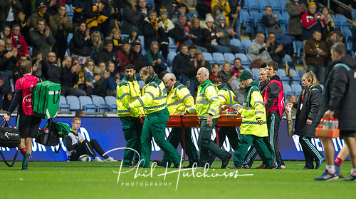 22nd October 2017, Ricoh Arena, Coventry, England; European Rugby Champions Cup, Wasps versus Harlequins;  Medics stretcher-off Francis Saili following a serious injury to Francis Saili of Harlequins