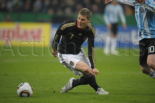 Germany's Bastian Schweinsteiger controls the ball during the test match Germany vs Argentina at AllianzArena stadium in Munich, Germany, 03 March 2010. Argentina won the match 1-0. Photo: Ronald Wittek /Actionplus. Editorial Use UK.