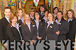 Staff of Specsavers, Castle Street, Tralee, celebrating their fourth birthday at the shop on Thursday. Front left to right:.Mary OCarroll, Bridget Slattery, Stacy OMahoney, Gemma Dowling, Caroline OCallaghan and Katie Kennelly. Back.left to right: Thomas Doyle, Charmaine Lawlor, Tara OSullivan, John Harrington, Rachel John and Maria Brown.