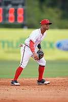 Florida Fire Frogs shortstop Ray-Patrick Didder (13) during a game against the Daytona Tortugas on April 7, 2018 at Osceola County Stadium in Kissimmee, Florida.  Daytona defeated Florida 4-3.  (Mike Janes/Four Seam Images)