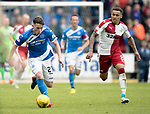 St Johnstone v RangersÖ21.05.17     SPFL    McDiarmid Park<br /> Craig Thomson gets away from James Tavernier<br /> Picture by Graeme Hart.<br /> Copyright Perthshire Picture Agency<br /> Tel: 01738 623350  Mobile: 07990 594431