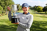 Vivian Lu with the Women's Amateur Trophy. New Zealand Amateur Championship, Wairakei Golf Course and Sanctuary, Taupo, New Zealand, Sunday 4  November 2018. Photo: Simon Watts/www.bwmedia.co.nz