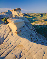 Theodore Roosevelt National Park, ND: Morning light on eroded bentonite ridge overlooking badland hills