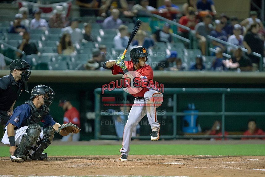 Johneshwy Fargas (21) of the San Jose Giants at bat against the South Division during the 2018 California League All-Star Game at The Hangar on June 19, 2018 in Lancaster, California. The North All-Stars defeated the South All-Stars 8-1.  (Donn Parris/Four Seam Images)