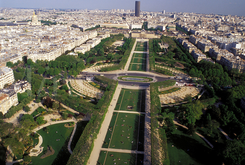 France, Paris, Ile de France, Europe, Aerial view of Parc du Champ de Mars in the city of Paris looking Southeast from the Eiffel Tower.