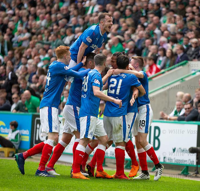 13.05.2018 Hibs v Rangers: Bruno Alves celebrates his equalising goal as Andy Halliday yells