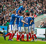 13.05.2018 Hibs v Rangers: Bruno Alves celebrates his equalising goal as Andy Halliday yells