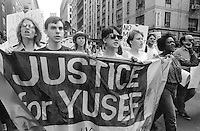 New York, NY Autumn 1989- Protesters call for justice in the death of Yusef Hawkens, a 16 year African American boy who was murdered 23 August when he went to purchase a car in the white neighborhood of Bensonhurst