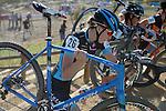 October 17, 2015 - Boulder, Colorado, U.S. - Elite cyclist, Laurel Rathbun #26, reaches the top of a long run-up during the U.S. Open of Cyclocross, Valmont Bike Park, Boulder, Colorado.