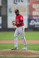 Billings Mustangs starting pitcher Luis Alecis (56) prepares to deliver a pitch during a Pioneer League game against the Ogden Raptors at Lindquist Field on August 17, 2018 in Ogden, Utah. The Billings Mustangs defeated the Ogden Raptors by a score of 6-3. (Zachary Lucy/Four Seam Images)