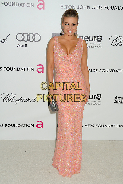 Carmen Electra.20th Annual Elton John Academy Awards Viewing Party held at West Hollywood Park, West Hollywood, California, USA..February 26th, 2012.oscars full length dress silver clutch bag pink cleavage cowl neck beads beaded sleeveless .CAP/ADM/BP.©Byron Purvis/AdMedia/Capital Pictures.