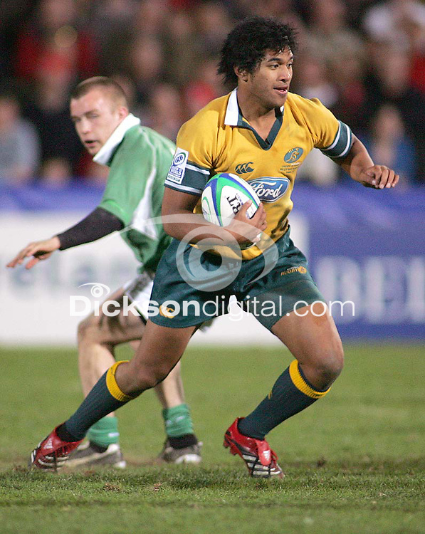 Australian scrum half Jeremy Su'a on the attack during the Division A U19 World Championship clash at Ravenhill.