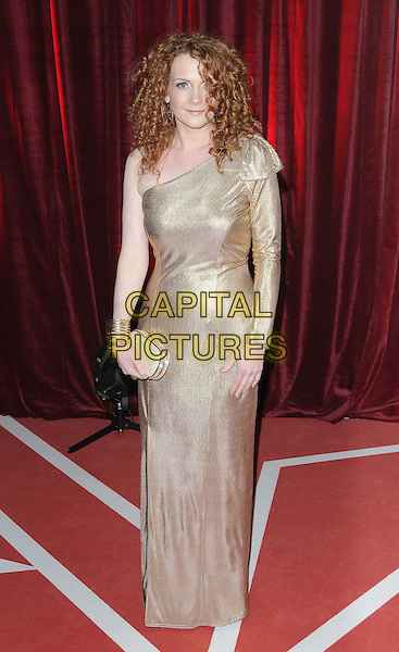 Jennie McAlpine.attended the British Soap Awards 2013, Media City, Salford, Manchester, England, UK, 18th May 2013..arrivals full length gold one sleeve shoulder dress long maxi .CAP/CAN.©Can Nguyen/Capital Pictures.