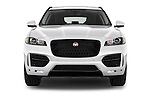 Car photography straight front view of a 2017 Jaguar F-PACE 20d-R-Sport-AWD 5 Door SUV Front View