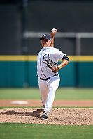 Detroit Tigers pitcher Angel Reyes (25) delivers a pitch during a Florida Instructional League game against the Pittsburgh Pirates on October 6, 2018 at Joker Marchant Stadium in Lakeland, Florida.  (Mike Janes/Four Seam Images)
