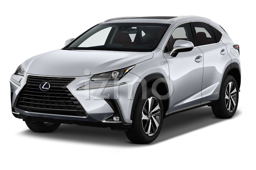 2020 Lexus NX 300h 5 Door SUV Angular Front stock photos of front three quarter view
