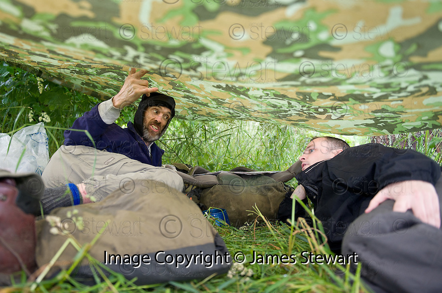 *** WARNING CONTENT MAY NOT BE SUITABLE FOR ALL ***.Sun man Gordon Tait joins naked rambler Stephen Gough under his shelter in the woods near Kinross.