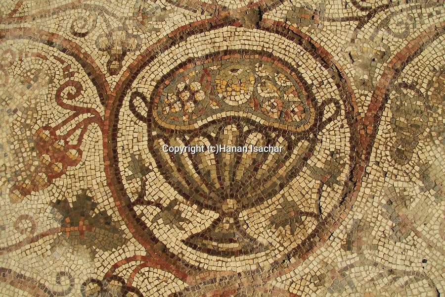 Israel, Shephelah, the mosaic floor at the Byzantine Church in Beth Loya