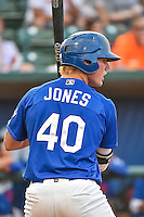 Matt Jones (40) of the Ogden Raptors at bat against the Great Falls Voyagers in Pioneer League action at Lindquist Field on July 16, 2015 in Ogden, Utah. Ogden defeated Great Falls 5-2. (Stephen Smith/Four Seam Images)