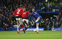 Chelsea's Gonzalo Higuain sees his shot blocked by Manchester United's Victor Lindelof and Chris Smalling<br /> <br /> Photographer Rob Newell/CameraSport<br /> <br /> Emirates FA Cup Fifth Round - Chelsea v Manchester United - Monday 18th February - Stamford Bridge - London<br />  <br /> World Copyright © 2019 CameraSport. All rights reserved. 43 Linden Ave. Countesthorpe. Leicester. England. LE8 5PG - Tel: +44 (0) 116 277 4147 - admin@camerasport.com - www.camerasport.com