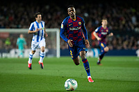 7th March 2020; Camp Nou, Barcelona, Catalonia, Spain; La Liga Football, Barcelona versus Real Sociedad; Nélson Semedo of Barcelona chased the long ball along the wing