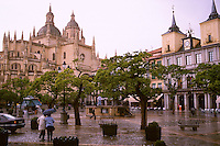 The Plaza Mayor after rain shower. Large building at left is the Cathedral. Segovia Castilla Y Leon Spain.