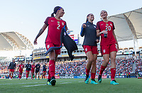 Carson, CA - Thursday August 03, 2017: Sydney Leroux, Alex Morgan, Allie Long during a 2017 Tournament of Nations match between the women's national teams of the United States (USA) and Japan (JAP) at StubHub Center.