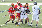 Mission Viejo, CA 05/14/11 - Michael Connell (Mission Viejo #17), Anthony Marsala (Loyola #19), Luke Mullan (Loyola #9) and Kurt denburg (Mission Viejo #22) in action during the Division 2 US Lacrosse / CIF Southern Section Championship game between Mission Viejo and Loyola at Redondo Union High School.