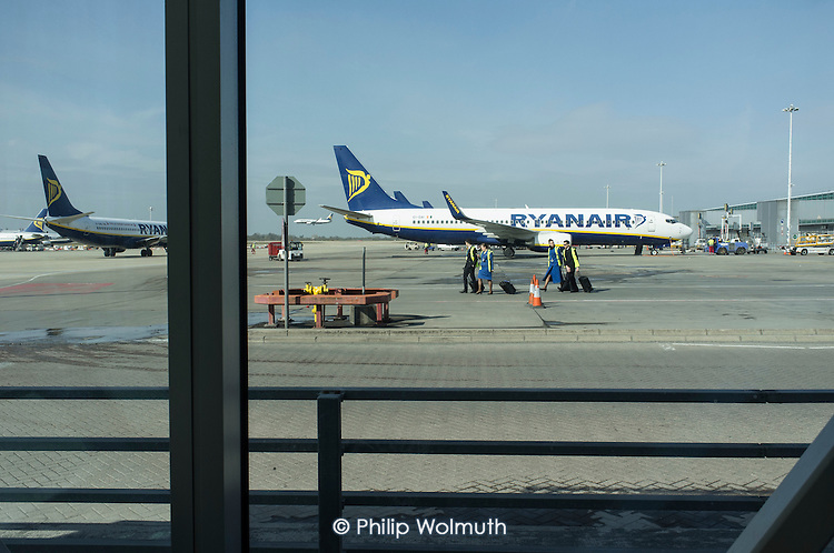 Ryanair planes preparing for take-off, Stansted airport, Essex.