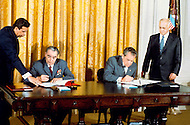 San Clemente, CA. June 26th, 1973. Leonid Ilyich Brezhnev, General secretary of the CPSU CC in the USA. The signing of the Joint Soviet-American Communique. Leonid Ilyich Brezhnev with Richard Nixon, President of the USA. A break in at the Democratic National Committee headquarters at the Watergate complex on June 17, 1972 results in one of the biggest political scandals the US government has ever seen. Effects of the scandal ultimately led to the resignation of President Richard Nixon, on August 9, 1974, the first and only resignation of any U.S. President.<br /> &laquo; less