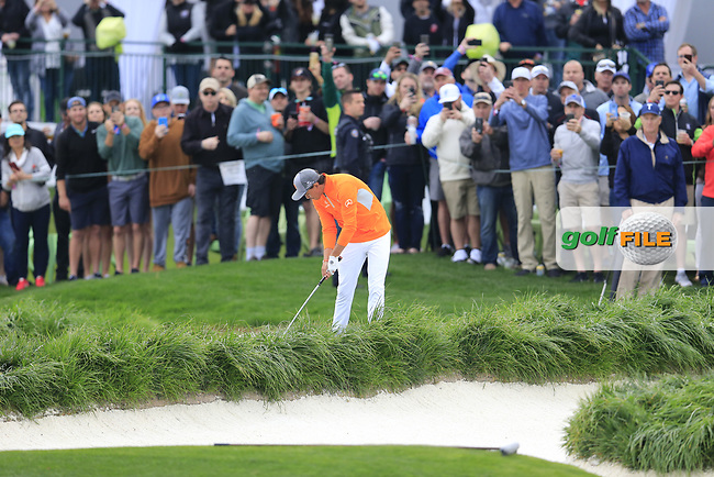 Rickie Fowler (USA) on the 18th fairway during the final round of the Waste Management Phoenix Open, TPC Scottsdale, Scottsdale, Arisona, USA. 03/02/2019.<br /> Picture Fran Caffrey / Golffile.ie<br /> <br /> All photo usage must carry mandatory copyright credit (© Golffile | Fran Caffrey)