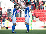 St Johnstone v Hearts…17.09.16.. McDiarmid Park  SPFL<br />Richie Foster celebrates at full time with Joe Shaughnessy<br />Picture by Graeme Hart.<br />Copyright Perthshire Picture Agency<br />Tel: 01738 623350  Mobile: 07990 594431