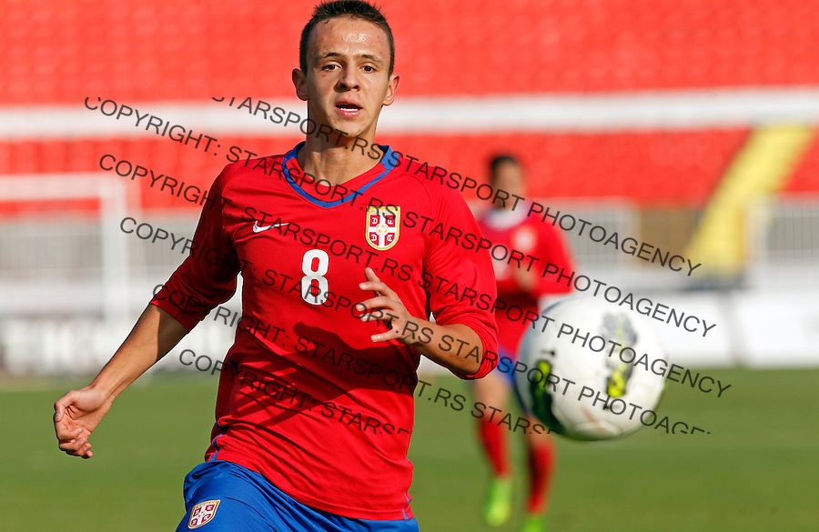 Nemanja Maksimovic UEFA Under-19 qualification round football game between Serbia and Austria at Karadjordje stadium in Novi Sad, Serbia on Monday, November 18, 2013. (credit: Pedja Milosavljevic  / thepedja@gmail.com / +381641260959)