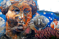 Titolo: Senza Titolo,  Artista Sconosciuto<br /> Title none Artist Unknown<br /> Roma 01-02-2015 Street Art a Roma. In vari quartieri di Roma e' fiorita la Street Art, con splendidi murales che hanno lo scopo di raccontare delle storie della citta', di commemorare dei momenti importanti, o semplicemente di interpretarla.<br /> Street Art in Rome. Very important writers  painted Murales in various districts of Rome to tell stories about the city, to commemorate important moments, to embellish the quarter or simply to portray it.  <br /> Photo Samantha Zucchi Insidefoto