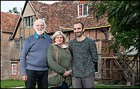 BNPS.co.uk (01202 558833)<br /> Pic: PhilYeomans/BNPS<br /> <br /> Historian Graham Bathe, Organiser Dee Atkinson and present owner Dominic Binney.<br /> <br /> Historic Wolf Hall, home to the Seymour family and star of Hilary Mantel's famous trilogy on Henry VIII th, has finally been definitively located after new discoveries around the much smaller ramshackle house that remains today. <br /> <br /> Despite it's fame, nobody really knew where the enormous Tudor pile actually was, or what it looked like, due to its very short but very influential existance in the middle of the tumultuous 16th century.<br /> <br /> Built with a million pound loan (&pound;2,400) from King Henry in 1531, brokered by Thomas Cromwell, the huge house was rapidly brick built in time for the King's pivotal visit with the court and troublesome wife Anne Boleyn in 1535, at which point Sir John Seymour's daughter Jane caught his eye, within a year Anne was dead and Jane, and the rest of the Seymour clan were in.<br /> <br /> They benefitted massively from Royal patronage and the dissolution of the monastries, but it all went wrong when Henry died and the brothers fell out and were later executed in a spectacular fall from power only 21 years after the house was built.<br /> <br /> Historian Graham Bathe and his team have now uncovered part of the outline of the original building, as well as the extensive Tudor brick sewer system that proves the huge scale of the 16th century mansion.