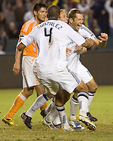 LA Galaxy defender Gregg Berhalter celebrates scoring his goal with his teammates. The LA Galaxy defeated the Houston Dynamo 2-0 in OT to win the MLS Western Conference Final at Home Depot Center stadium in Carson, California on Friday November 13, 2009...