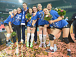 Halle/Westfalen, Germany, March 01: Players of Allianz MTV Stuttgart pose with the trophy after defeating Ladies in Black Aachen to win the Volleyball DVV-Pokalfinale (Damen) on March 1, 2015 at the Gerry Weber Stadion in Halle/Westfalen, Germany. Final score 2-3 (25-17, 25-20, 19-25, 19-25, 13-15). (Photo by Dirk Markgraf / www.265-images.com) *** Local caption ***