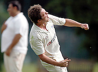 Highgate's Craig Gourlay celebrates after catching a ball after it was initially caught by a Highgate fielder who then threw the ball to Gourlay before he crossed the boundary line during the Middlesex County League Division Three game between Highgate and Bessborough at Park Road, Crouch End on Sat Sept 4, 2010