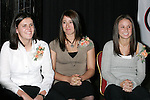 06 January 2006,  Christine Sinclair of the University of Portland (L), Katie Thorlakson of Notre Dame (C), and Tiffany Weimer of Penn State are the three finalists for the 2005 Hermann Trophy during the Missouri Athletic Club presentation of the 2005 Hermann Trophy in St. Louis, Missouri..---LIVE IMAGE---