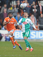 Plymouth Argyle's Ruben Lameiras under pressure from Blackpool's Michael Nottingham<br /> <br /> Photographer Kevin Barnes/CameraSport<br /> <br /> The EFL Sky Bet League One - Blackpool v Plymouth Argyle - Saturday 30th March 2019 - Bloomfield Road - Blackpool<br /> <br /> World Copyright © 2019 CameraSport. All rights reserved. 43 Linden Ave. Countesthorpe. Leicester. England. LE8 5PG - Tel: +44 (0) 116 277 4147 - admin@camerasport.com - www.camerasport.com