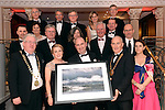Terence Mulcahy, Chairman, Kerry Branch of the IHF making a presentation to Sean and Marie O'Driscoll on behof of the Kerry Branch of the IHF for his professionalism in hosting the inaugural National Tourism Forum and branc ball in the Muckross Park Hotel at the weekend. Also in photo are in front Joe Dolan, president, IHF and Margaret Creedon. Second row, Brian Bowler, Geraldine and Michael Rosney, Sally and John McKenna and Noel Creedon. At back, Padraig treacy, Conor O'Connell, Tim Fenn, CEO IHF, and Patrick O'Donoghue.<br /> Photo: Don MacMonagle<br /> <br /> Repro free photo