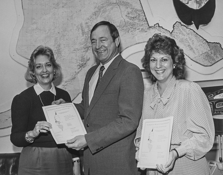 Rep. Don Young, R-Alaska, presenting certificate to women. 1973 (Photo by CQ Roll Call via Getty Images)