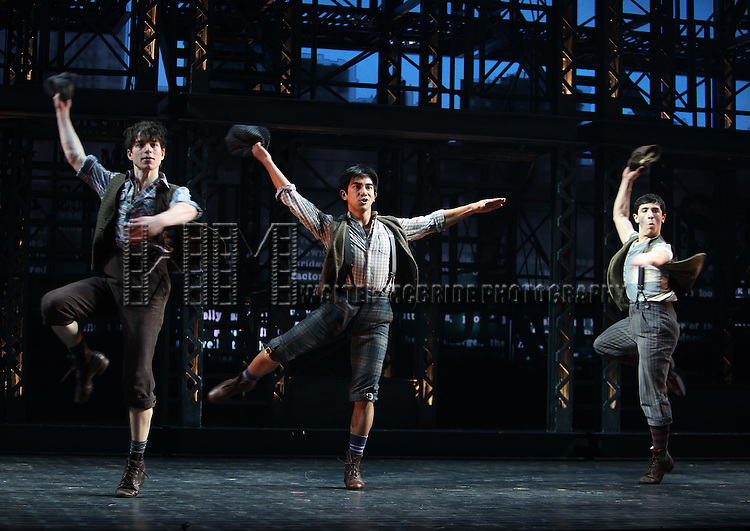 Ensemble featuring Kyle Coffman & Aaron J. Albano.during the 'NEWSIES' Opening Night Curtain Call at the Nederlander Theatre in New York on 3/29/2012
