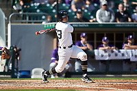 Jake Mueller (23) of the Wake Forest Demon Deacons follows through on his swing against the Furman Paladins at BB&T BallPark on March 2, 2019 in Charlotte, North Carolina. The Demon Deacons defeated the Paladins 13-7. (Brian Westerholt/Four Seam Images)