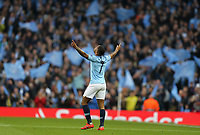 Manchester City's Raheem Sterling celebrates scoring the opening goal <br /> <br /> Photographer Rich Linley/CameraSport<br /> <br /> UEFA Champions League - Quarter-finals 2nd Leg - Manchester City v Tottenham Hotspur - Wednesday April 17th 2019 - The Etihad - Manchester<br />  <br /> World Copyright © 2018 CameraSport. All rights reserved. 43 Linden Ave. Countesthorpe. Leicester. England. LE8 5PG - Tel: +44 (0) 116 277 4147 - admin@camerasport.com - www.camerasport.com