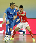 Ugra Yugorsk's Katata (l) and SL Benfica's Rafael Henmi during UEFA Futsal Cup 2015/2016 Semifinal match. April 22,2016. (ALTERPHOTOS/Acero)