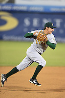 Lynchburg Hillcats shortstop Daniel Castro (12) throws to first during a game against the Potomac Nationals on April 26, 2014 at Pfitzner Stadium in Woodbridge, Virginia.  Potomac defeated Lynchburg 6-2.  (Mike Janes/Four Seam Images)