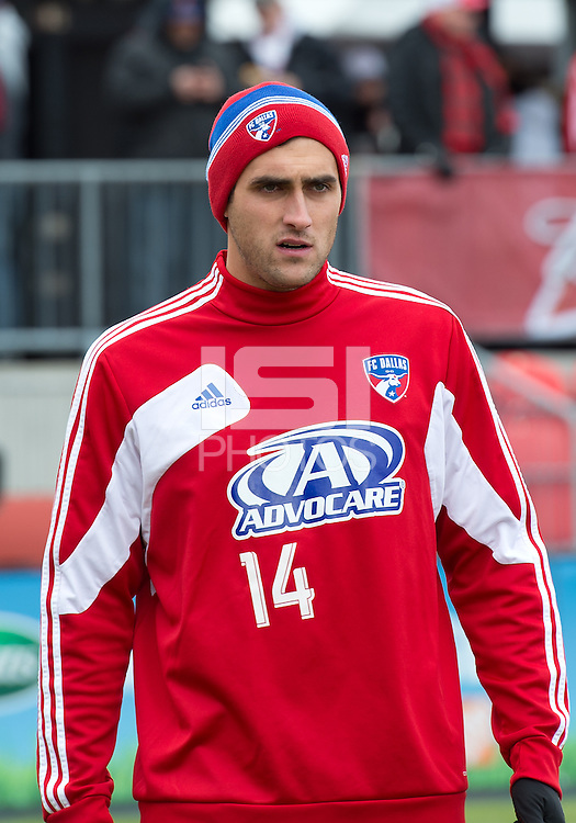06 April 2013: FC Dallas defender George John #14 in action during the warm-up in an MLS game between FC Dallas and Toronto FC at BMO Field in Toronto, Ontario Canada..The game ended in a 2-2 draw..